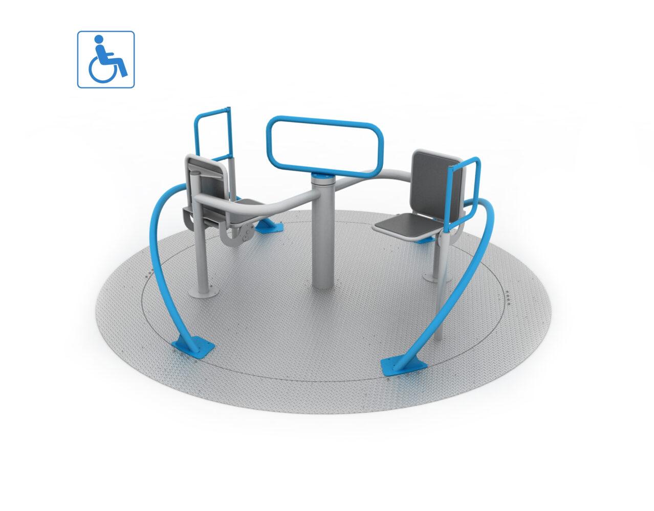 Karuzela integracyjna dla osób na wózkach inwalidzkich na plac zabaw