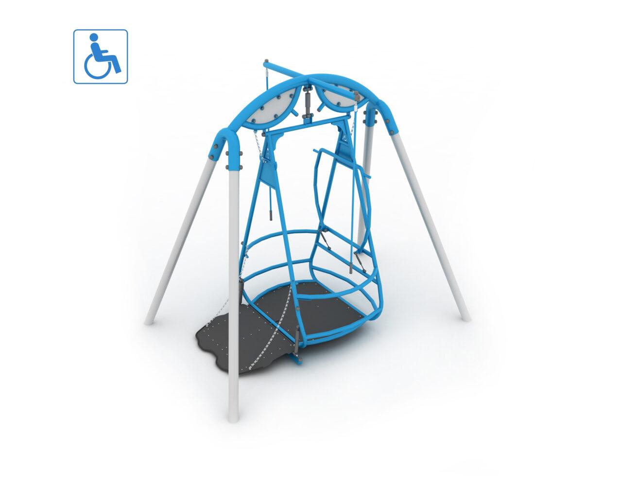 Huśtawka dla osób na wózkach inwalidzkich Huśtawka integracyjna dla dzieci na wózkach inwalidzkich oraz niepełnosprawnych na plac zabaw
