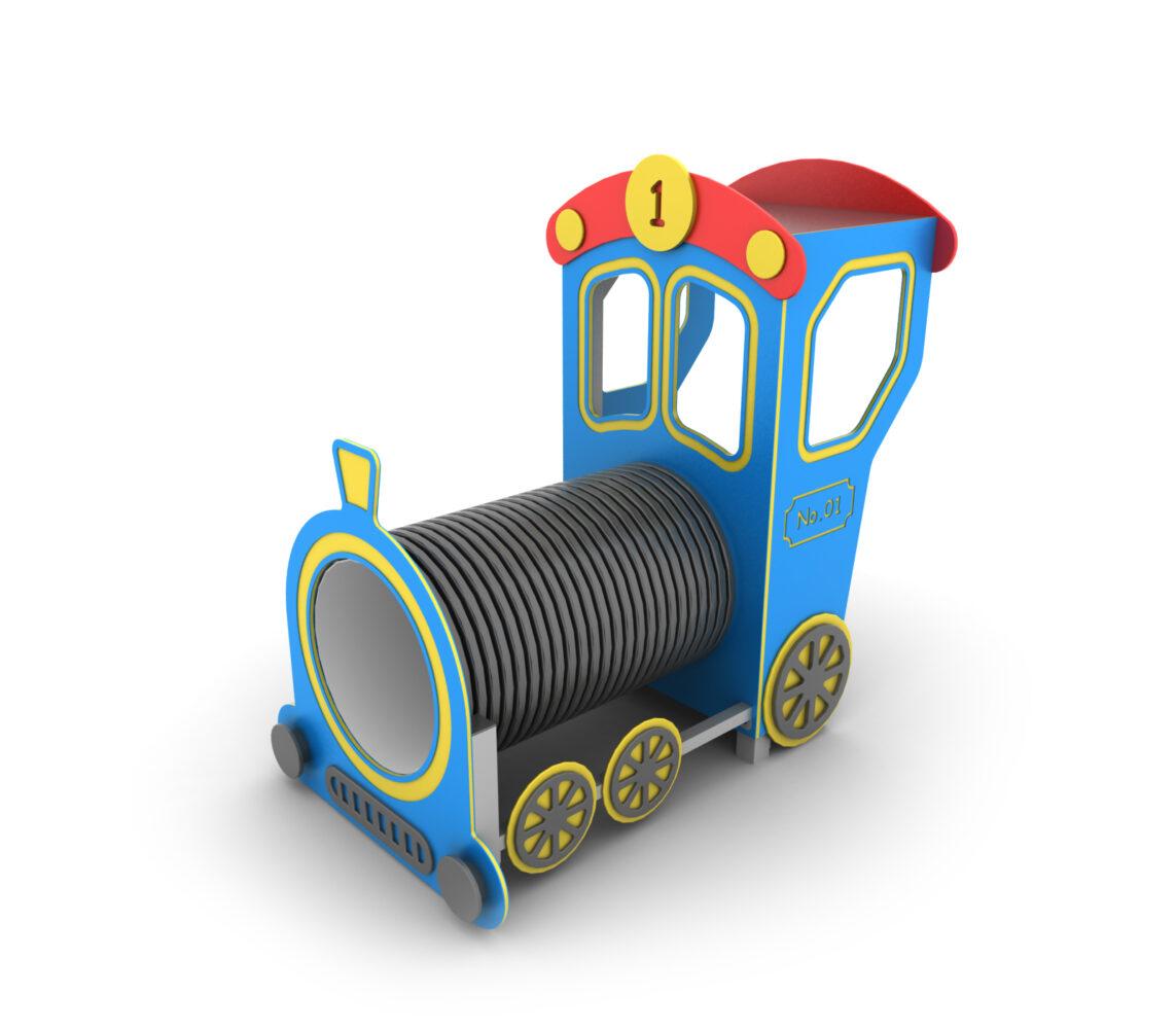 Lokomotywa na plac zabaw z wagonikami z atestami