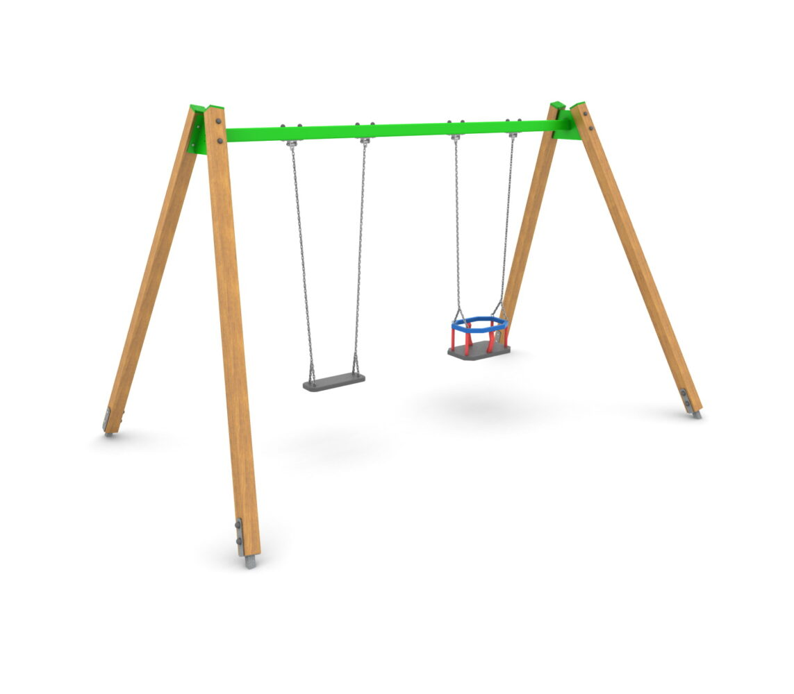 Huśtawka drewniana na plac zabaw podwójna