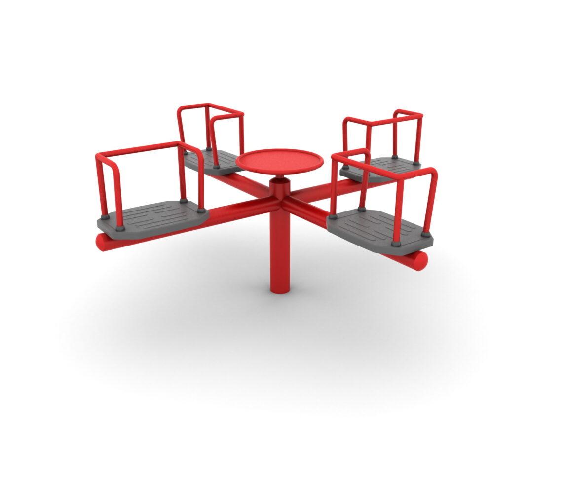 Karuzela krzyżowa na place zabaw z certyfikatem z czterema siedziskami