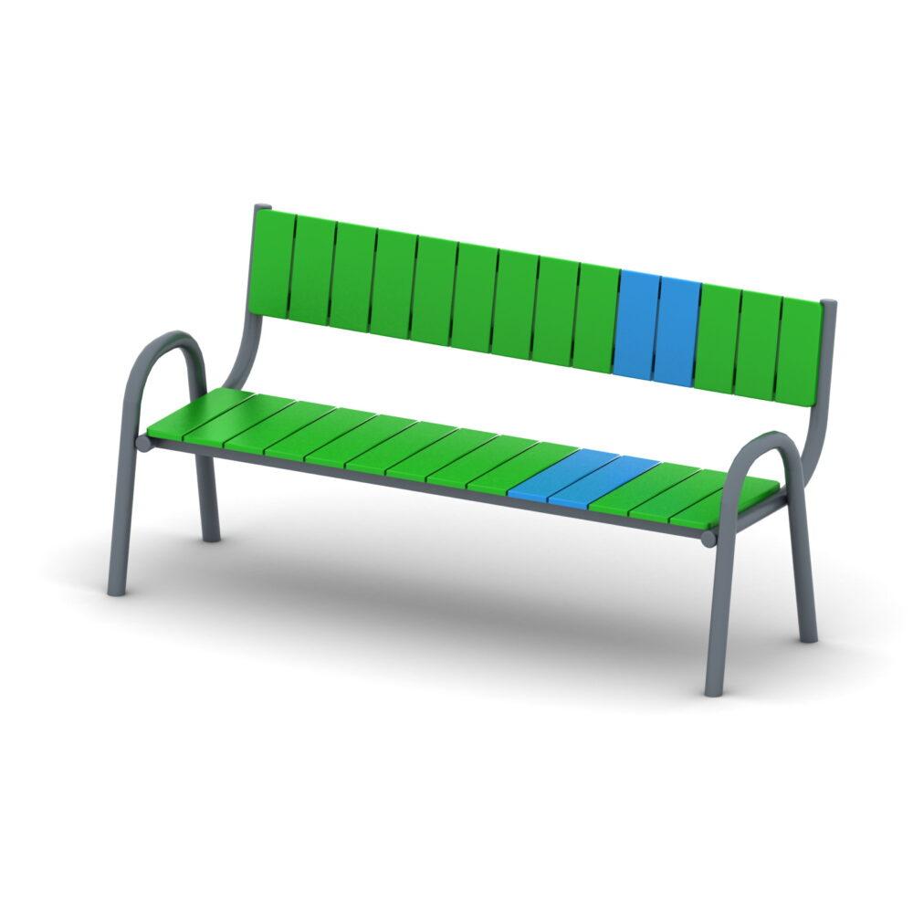 Ławka z oparciem na plac zabaw. Certyfikowane place zabaw. Producent placów zabaw i architektury ogrodowej.