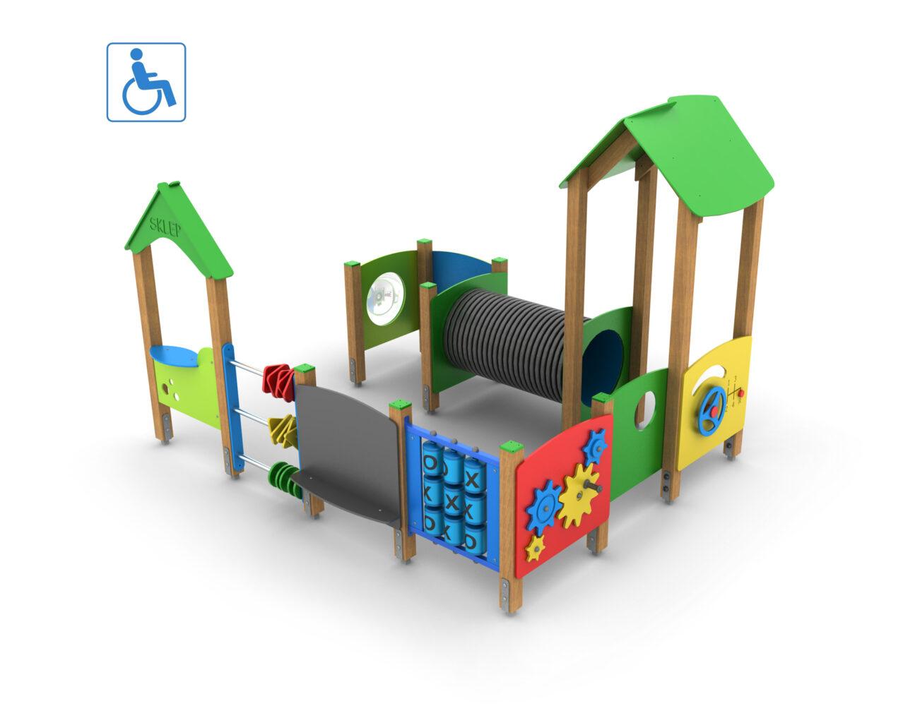Integracyjny plac zabaw dla dzieci niepełnosprawnych na wózkach inwalidzkich producent koedukacyjne place zabaw