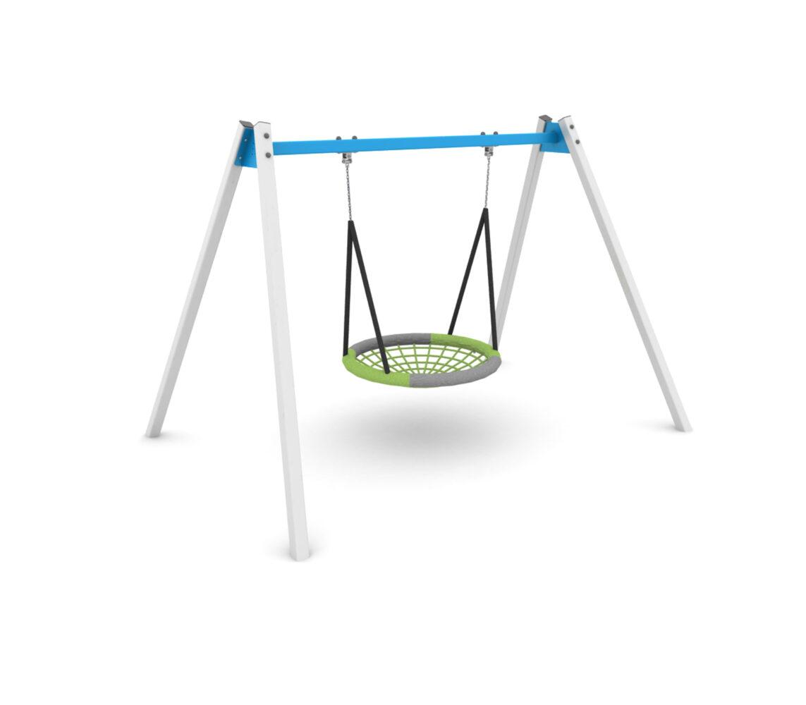 """Huśtawka integracyjna z """"Bocianim gniazdem"""" dla osób niepełnosprawnych na plac zabaw"""