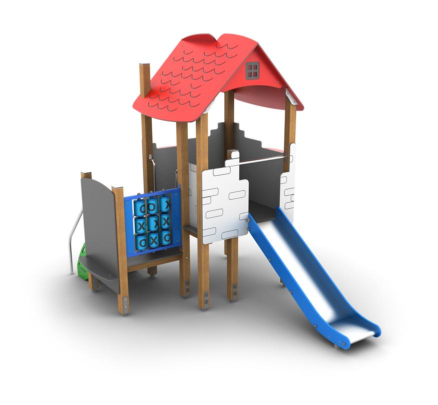 Domek duży ze zjeżdżalnia na plac zabaw do żłobka