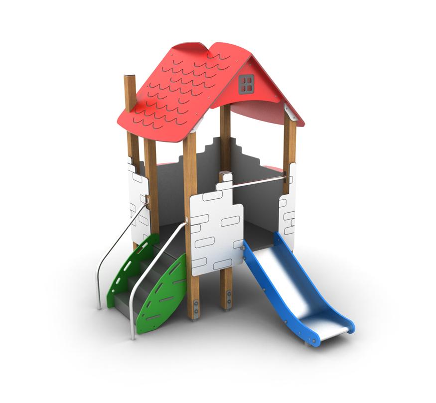 Domek ze zjeżdżalnią na plac zabaw