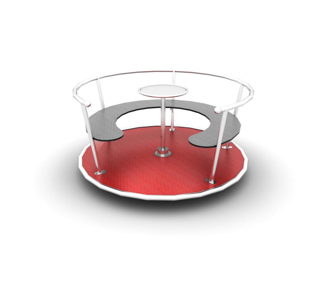 Karuzela tarczowa z siedziskami otwarta ze stali nierdzewnej place zabaw producent