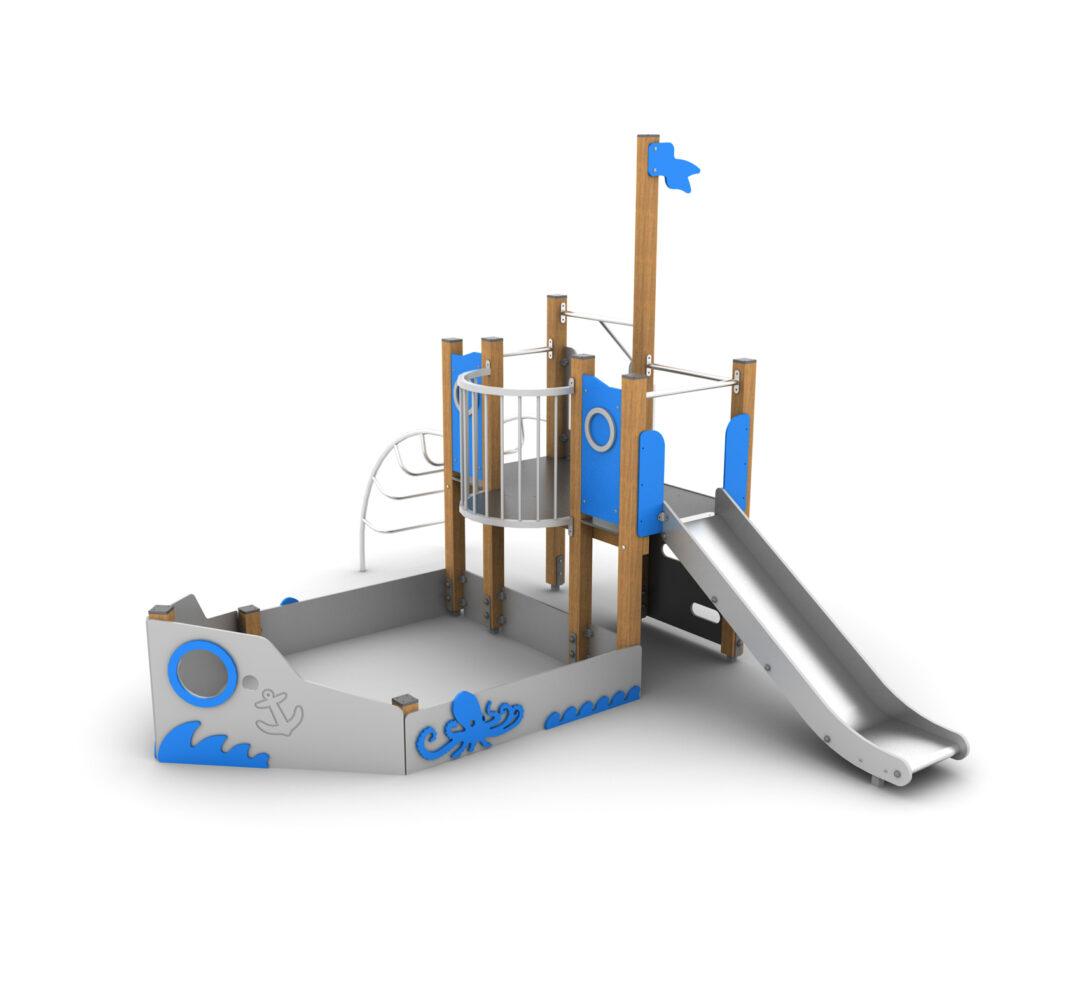 Statek na plac zabaw, urządzenie zabawowe w kształcie statku