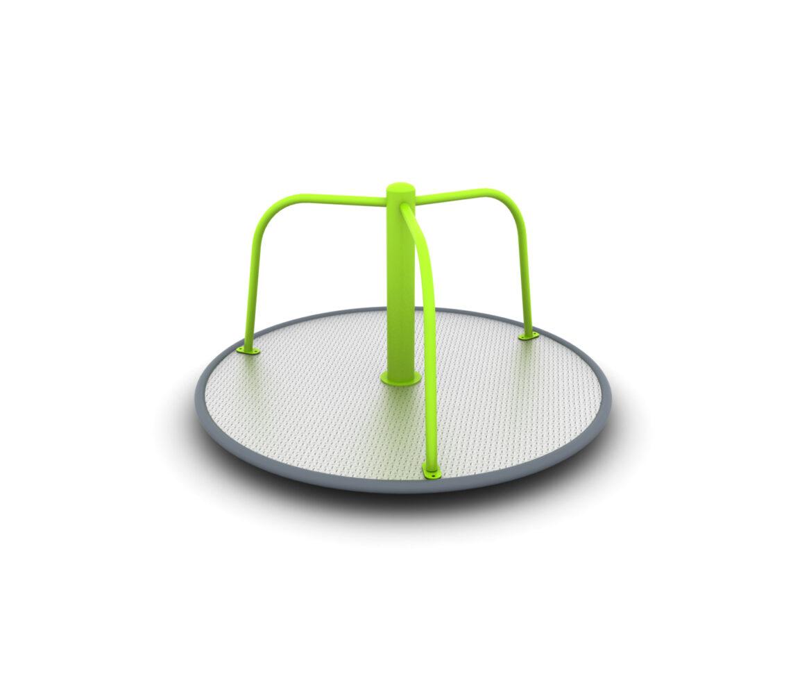 Karuzela tarczowa trójramienna bez siedzisk na place zabaw integracyjne, prywatne i publiczne. Karuzela certyfikowana malowana proszkowo.