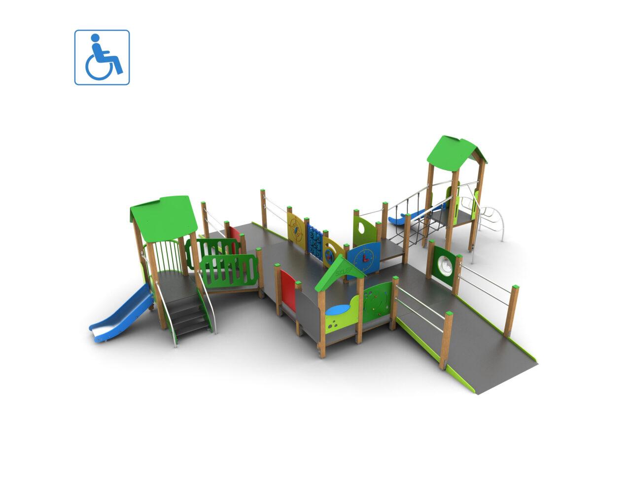 Plac zabaw integracyjny dla dzieci niepełnosprawnych na wózkach inwalidzkich producent