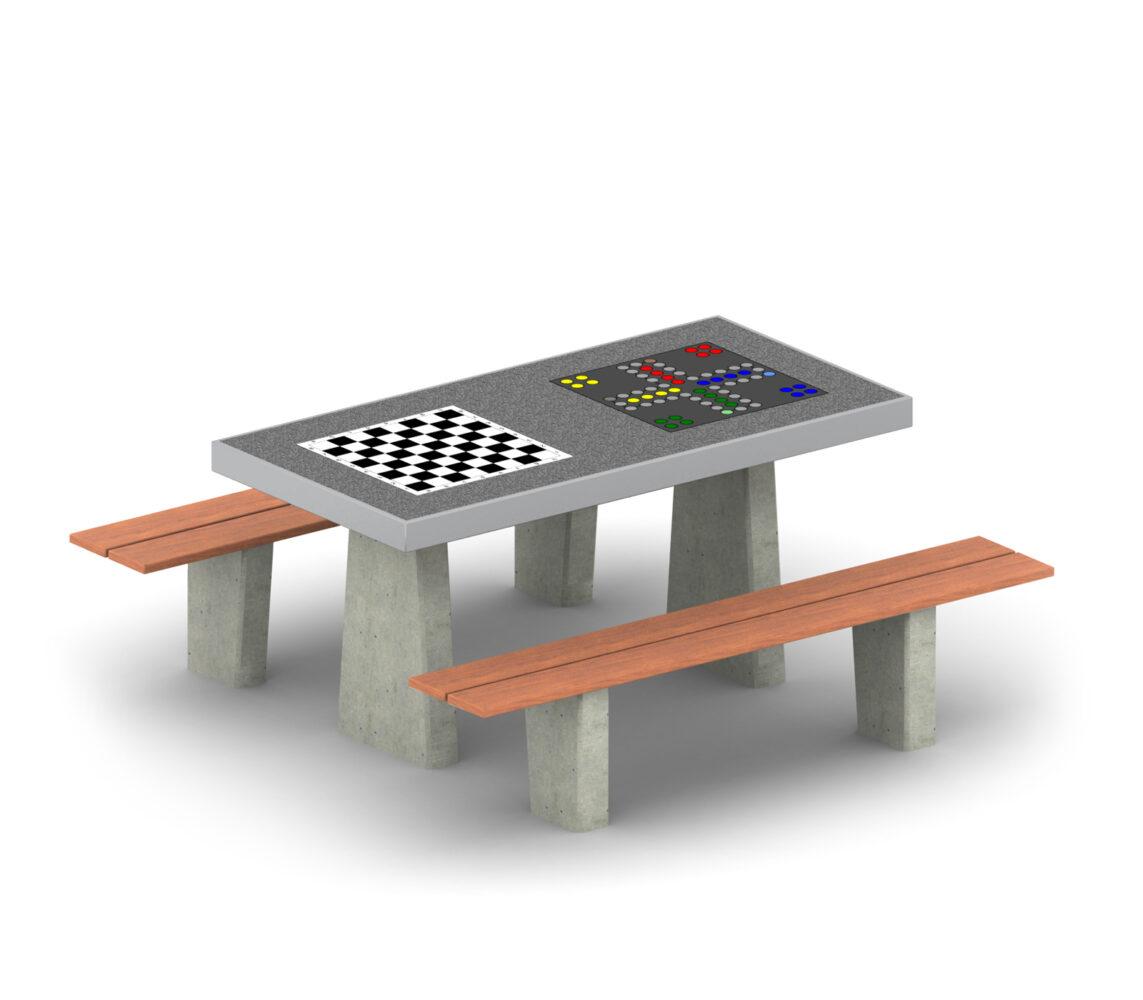 Stolik do gry w szachy i chińczyka betonowy