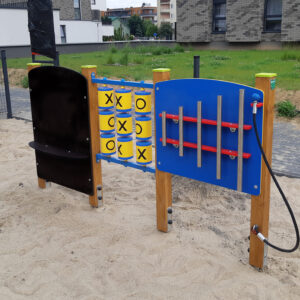 panele edukacyjne na plac zabaw tablica do rysowania gra kółko i krzyżyk cymbałki