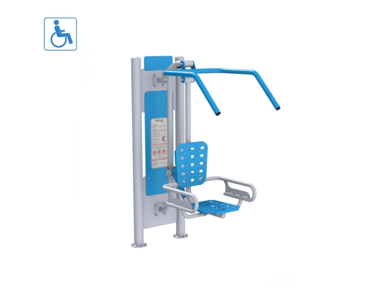 Podciąg dla osób niepełnosprawnych, siłownie zewnętrzne integracyjne dla niepełnosprawnych na place zabaw z atestem